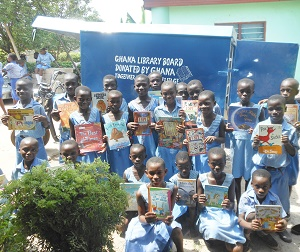 School Children with Mobile Library